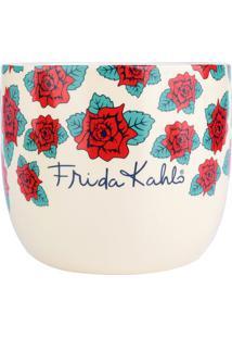 Cachepot Frida Kahlo®- Branco & Vermelho- 12Xø14Cm