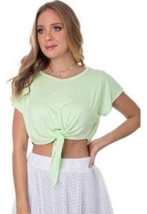 Blusa Cropped Rosa Helena Tricot Garopaba Com Laço - Feminino-Verde
