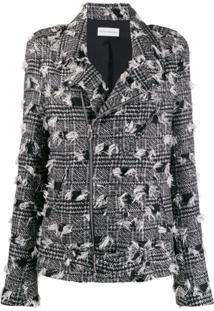 Faith Connexion Houndstooth Pattern Biker Jacket - Preto