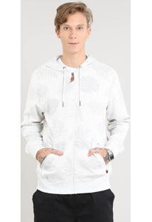 Blusão Masculino Estampado De Folhagem Com Capuz E Bolso Cinza Mescla Claro