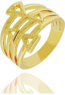 Anel Aros Triângulos Semi Joia - Feminino-Dourado