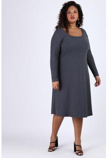 Vestido Feminino Plus Size Midi Evasê Canelado Manga Longa Cinza Mescla Escuro