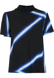 Alcaçuz Blusa 'Leopoldo' Estampada - Azul