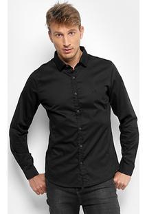 Camisa Acostamento Lisa Elastano Masculina - Masculino-Preto