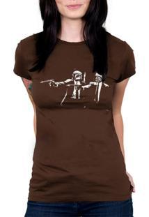 Camiseta Baby Look Hshop Pulp Wars Marrom