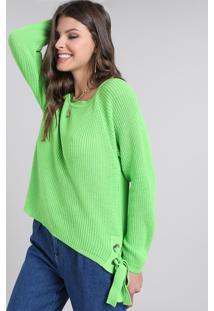 Suéter Feminino Em Tricô Com Amarração Lateral Verde Neon