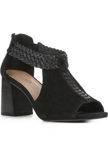 Sandal Boot Couro Shoestock Salto Bloco Feminina - Feminino-Preto