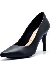 Sapato Scarpin Salto Alto Fino Em Napa Preta - Kanui