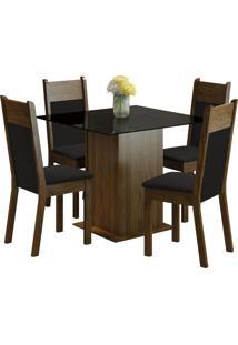 Conjunto Sala De Jantar Madesa Mesa Com Tampo De Vidro E 4 Cadeiras Miami - Rustic/ Preto