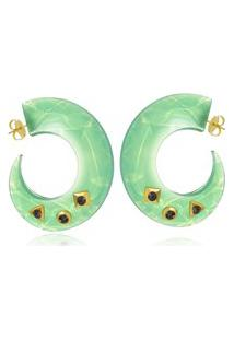 Brinco Argola Le Diamond De Acrílico Verde