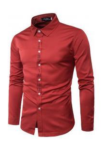 Camisa Masculina Slim Fit Com Detalhes Romanos Manga Longa - Vermelho