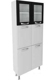 Paneleiro Duplo Com 2 Portas De Vidro 5 Prateleiras Ipldv-80 Premium Itatiaia Branco/Preto