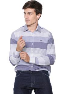 Camisa Yachtsman Reta Traveller Branca/Azul