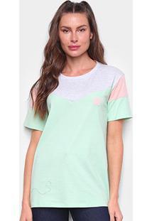 Camiseta Tricats Recortes Live Life Feminina - Feminino-Verde+Rosa