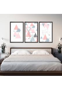 Quadro 60X120Cm Abstrato Escandinavo Coloridos Geométrico Triangulos Moldura Preta Sem Vidro - Mod: Oh5709