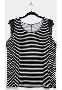 Blusa Cativa Mais Plus Size Listras Renda Feminina - Feminino-Preto