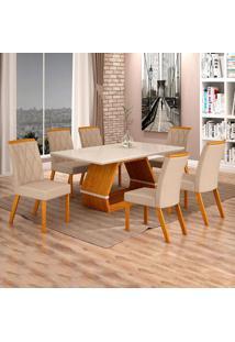 Conjunto De Mesa De Jantar I Com 6 Cadeira Esmeraldas Veludo Off White E Palha