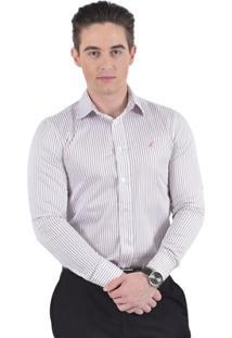 Camisa Social Listrada Slim Masculina - Masculino