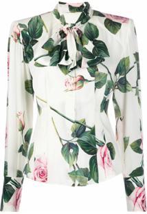Dolce & Gabbana Blusa Com Estampa Com Laço Na Gola - Branco