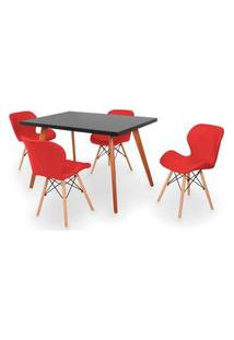 Conjunto Mesa De Jantar Gih 120X80Cm Preta Com 4 Cadeiras Slim - Vermelho