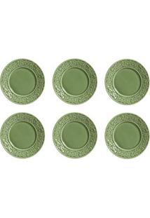 Conjunto De Pratos De Sobremesa Com 06 Peças Em Cerâmica Verde Sálvia - Porto Brasil