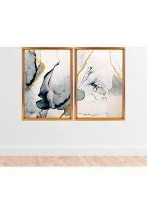 Quadro Love Decor Com Moldura Chanfrada Abstrato Dourado - Grande