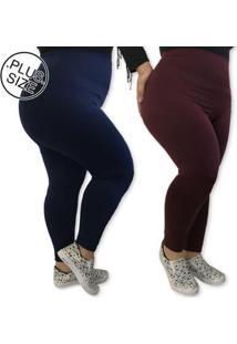 Kit 2 Leggings Plus Size Heide Ribeiro Leg Basic Suplex Barato Feminino - Feminino-Marinho+Vinho