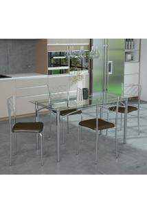 Conjunto De Mesa De Cozinha Com Tampo De Vidro Cibele E 4 Cadeiras Cacau