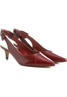 Scarpin Couro Shoestock Salto Baixo Nó - Feminino-Bordô