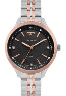 Relógio Technos Trend 2035Mov/4T Feminino - Feminino-Prata+Rosa