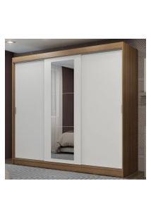 Guarda-Roupa Casal Madesa Kansas 3 Portas De Correr Com Espelho 3 Gavetas Rustic/Branco Cor:Rustic/Branco