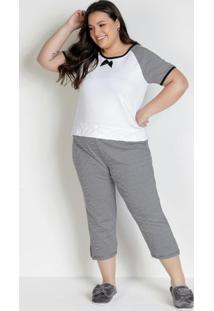 Pijama Plus Size Com Calça Capri Branco E Listra
