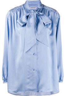 Balenciaga Blusa Listrada Com Laço Na Gola - Azul