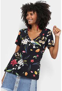 Camiseta Cantão Floral Nara Feminina - Feminino-Preto