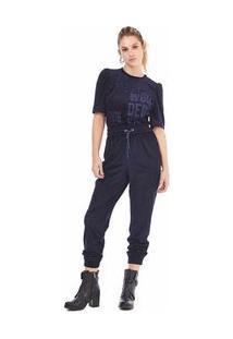 Calça Pijama Cos Alto Detalhe Galao Azul 42