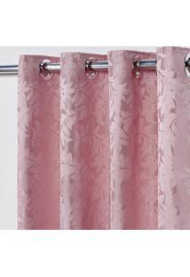 Cortina Em Tecido Jacquard 4,00 M X 2,70 M - Rosa - Multicolorido - Dafiti