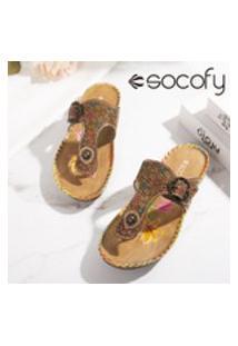 Sapatilhas Casuais De Couro Socofy, Femininas, Estilo Retro, Florais, Sapatos Baixos De Praia Ocos