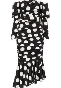 Dolce & Gabbana Vestido Ombro A Ombro Com Poás - Preto