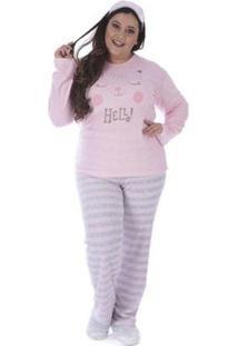 Pijama De Inverno Plus Size Listrado Victory Feminino - Feminino