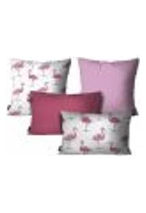 Kit Com 4 Capas Para Almofadas Flamingo Rosa Kit Com 4
