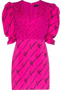 Versace Vestido Com Estampa E Mangas Bufantes - Rosa
