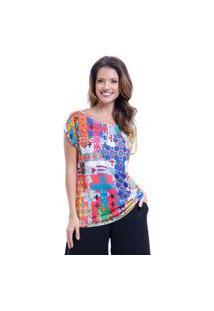 Blusa 101 Resort Wear Tunica Ampla Decote Careca Estampada Multicolorida