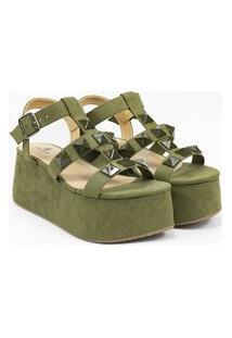 Sandália Feminina Flatform Suelen Verde Multicolorido