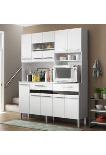 Armário Para Cozinha 10 Portas 2 Gavetas Compacta Decibal Branco/Preto