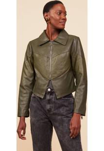 Jaqueta Amaro Leather Recorte Textura Verde Militar - Verde - Feminino - Dafiti