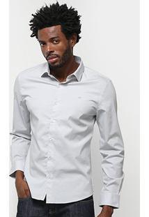 Camisa Ellus Lisa Manga Longa Masculina - Masculino-Cinza