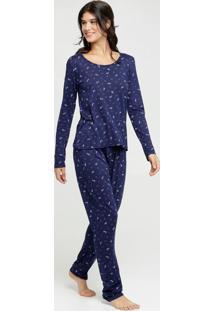 Pijama Feminino Estampa Coração Manga Longa Marisa