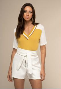 T-Shirt Acostamento Tricot Amarelo - Amarelo - Feminino - Dafiti