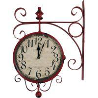 5c55d68e77b Relógio De Parede Decorativo Vermelho Modelo Antiga Estação De Trem Estação  Paris France 1892 R3P Import