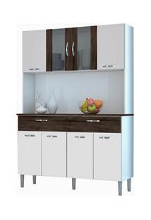 Kit Cozinha Compacta Armário Pan 08 Portas Branco/White/Petróleo - Kit